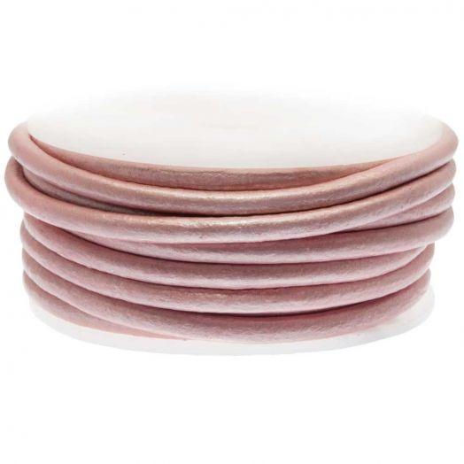 DQ Leder (3 mm) Metallic Pink (5 Meter)