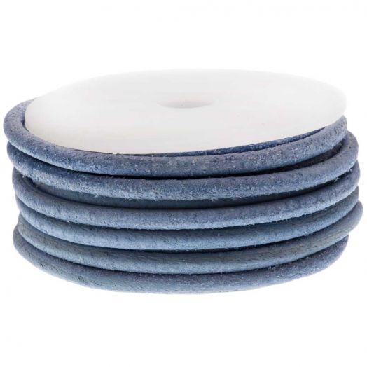 DQ Leder Vintage (3 mm) Powder Blue (5 Meter)