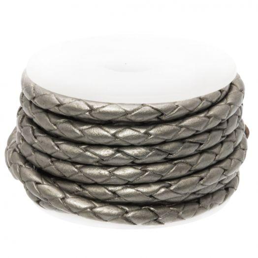 DQ Geflochtenes Leder Metallic (3 mm) Grey (2.5 Meter)