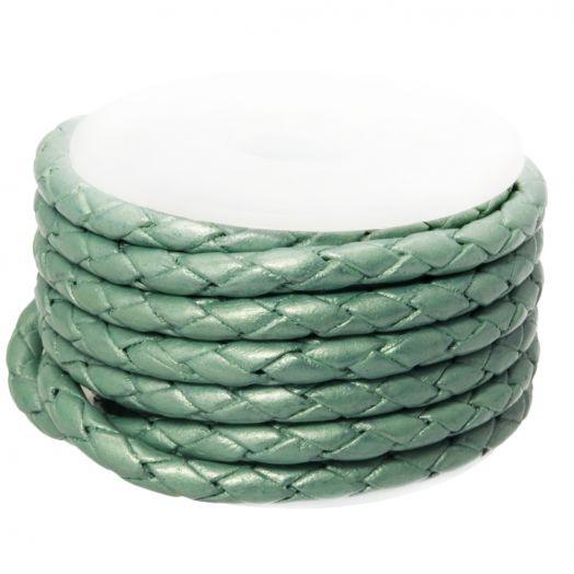 DQ Geflochtenes Leder Metallic (3 mm) Mint Green (2.5 Meter)