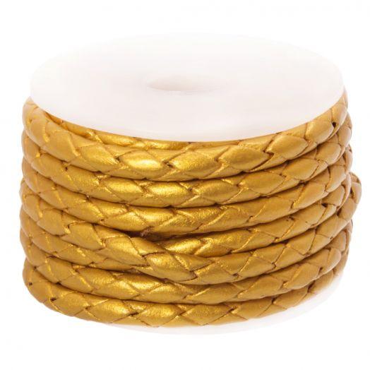 DQ Geflochtenes Leder Metallic (3 mm) Gold (2.5 Meter)