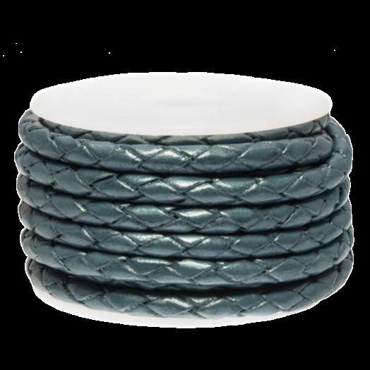 DQ Geflochtenes Leder Metallic (3 mm) Faded Denim (2.5 Meter)