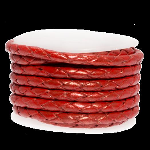DQ Geflochtenes Leder Metallic (3 mm) Bright Red (2.5 Meter)