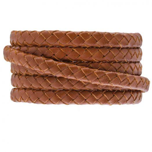 DQ Geflochtenes Leder (6 x 3 mm) Warm Brown (1 meter)