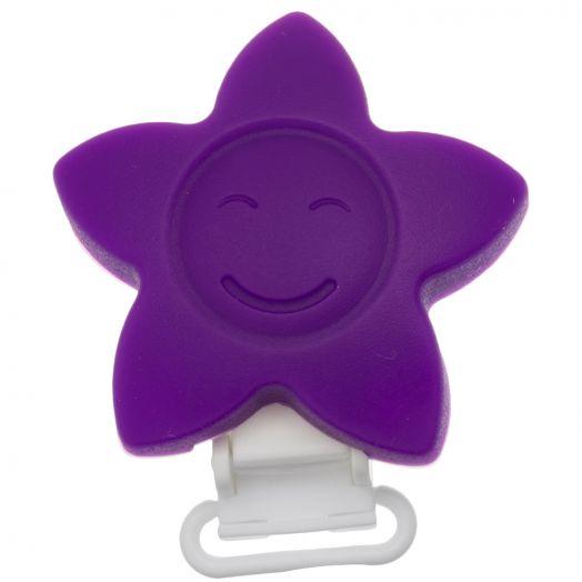 Schnullerhalter lachender Stern (62 mm) Purple (1 Stück)