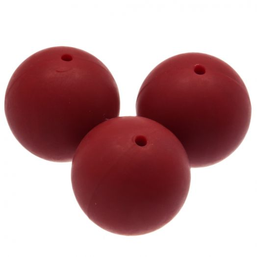 Silikon Perlen (18 mm) Red Rose (5 Stück)