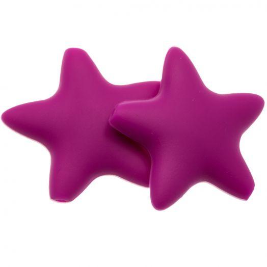 Stern Silikon Perle (36 mm) Fuchsia (2 Stück)