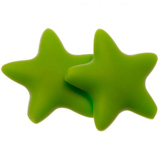 Stern Silikon Perle (36 mm) Clear Green (2 Stück)