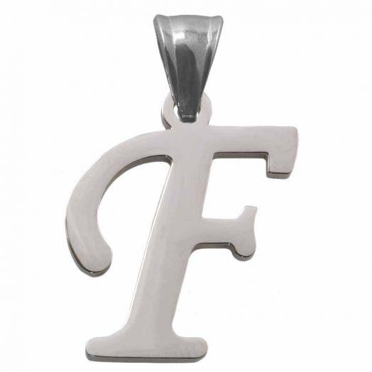 Stainless Steel Buchstabenanhänger F (32 mm) Altsilber (1 Stück)