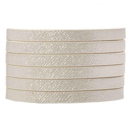 Flaches Band (5 x 2 mm) Shimmer Glitter White (1 Meter)