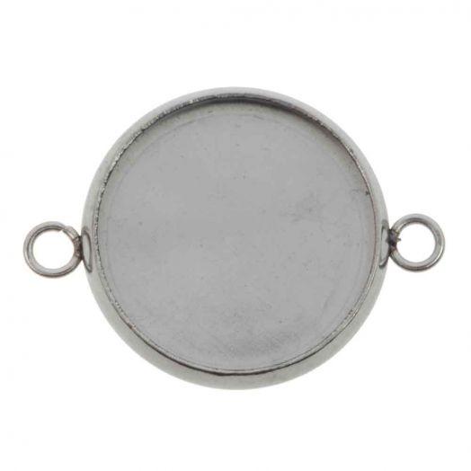 Stainless Steel Fassung 2 Ösen (14 mm) Altsilber (10 Stück)