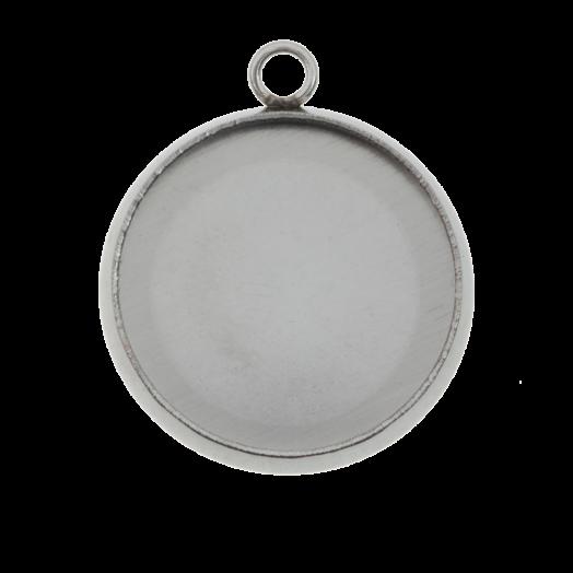 Stainless Steel Fassung 1 Öse (14 mm) Altsilber (10 Stück)