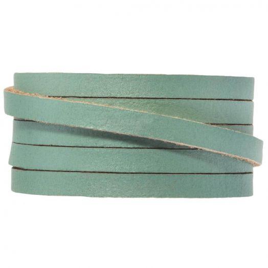 Flach Leder (5 x 2 mm) Teal Metallic (1 Meter)
