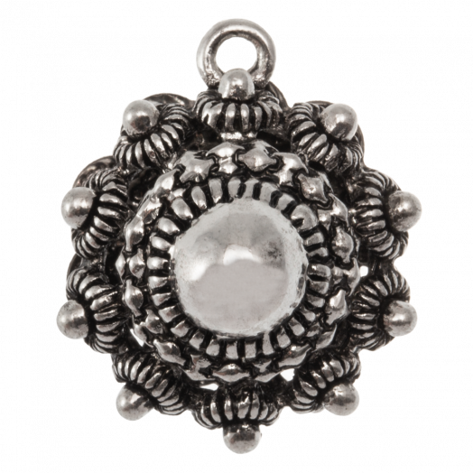 Charm Trachtenknopf (22 mm / Innenmaß Öse 2 mm) Altsilber (2 Stück)