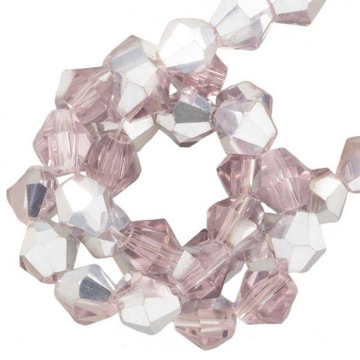 Facetperlen Bicone (4 mm) Pink Silver Shine (110 Stück)