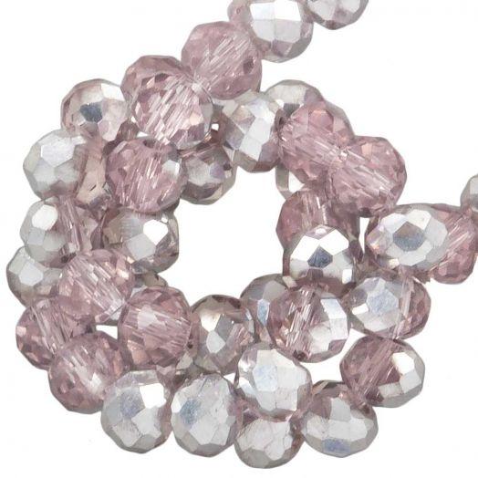 Facetperlen Rondell (2 x 3 mm) Pink Silver Shine (150 Stück)