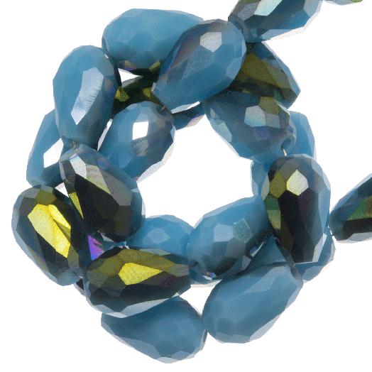 Facetperlen Tropfen (5 x 7 mm) Blue Shine (70 Stück)