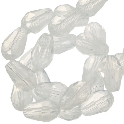 Facetperlen Tropfen (5 x 7 mm) White Shine (70 Stück)