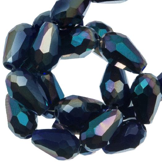 Facetperlen Tropfen (5 x 7 mm) Dark Blue Shine (70 Stück)