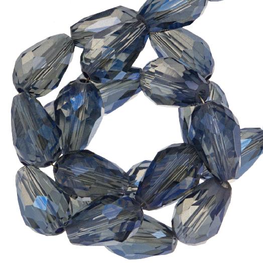 Facetperlen Tropfen (8 x 11 mm) Transparent Blue Shine (60 Stück)