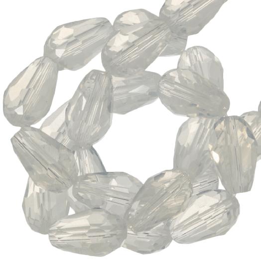 Facetperlen Tropfen (8 x 11 mm) White Shine (60 Stück)