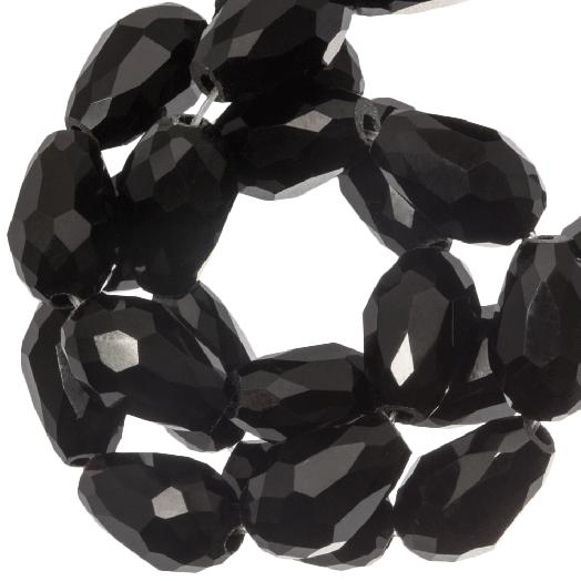 Facetperlen Tropfen (8 x 11 mm) Black Shine (60 Stück)