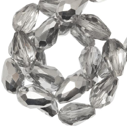 Facetperlen Tropfen (8 x 11 mm) Silver Shine (60 Stück)