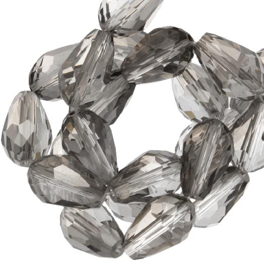 Facetperlen Tropfen (8 x 11 mm) Transparent Grey Shine (60 Stück)