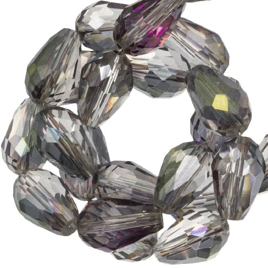 Facetperlen Tropfen (8 x 11 mm) Transparent Grey Rainbow Shine (60 Stück)