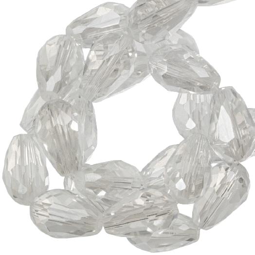 Facetperlen Tropfen (8 x 11 mm) Transparent White Shine (60 Stück)