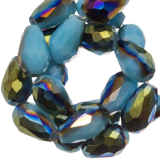 Facetperlen Tropfen (8 x 11 mm) Light Blue Shine (60 Stück)