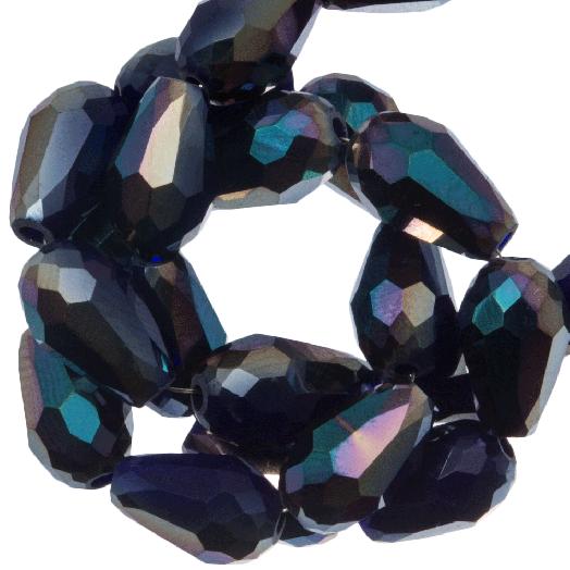 Facetperlen Tropfen (8 x 11 mm) Dark Blue Shine (60 Stück)