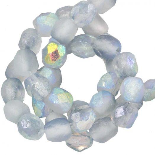 DQ Feuerpolierte Perlen (4 mm) Blue Rainbow (50 Stück)