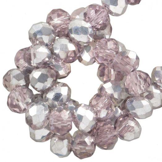 Facetperlen Rondell (3 x 4 mm) Pink Silver Shine (147 Stück)