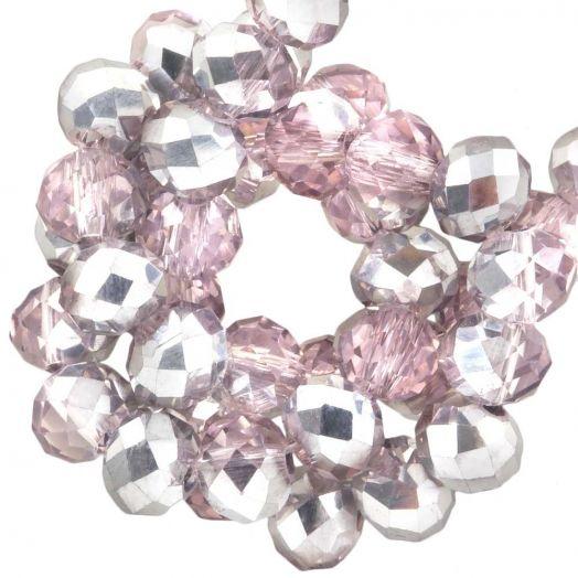 Facetperlen Rondell (6 x 4 mm) Pink Silver Shine (95 Stück)