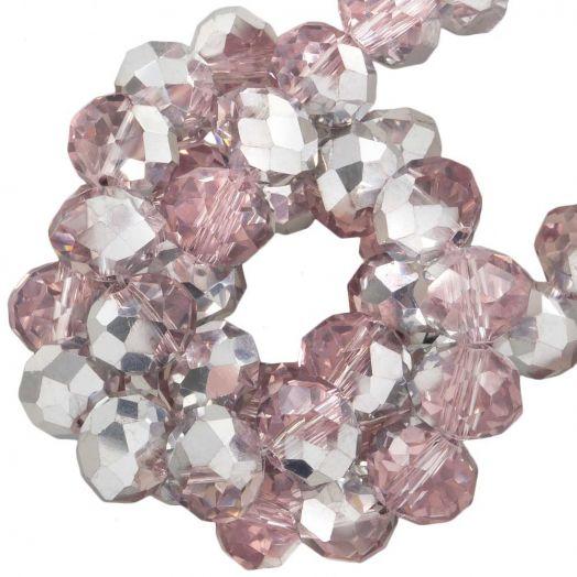 Facetperlen Rondell (8 x 6 mm) Pink Silver Shine (72 Stück)