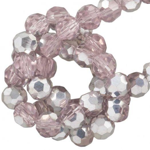 Facetperlen Rund (4 mm) Pink Silver Shine (98 Stück)