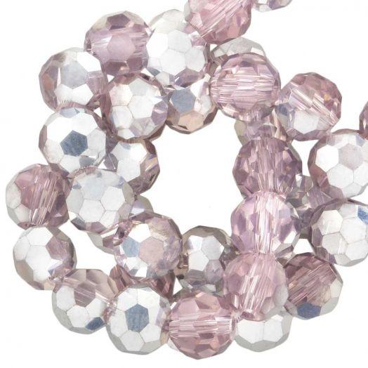 Facetperlen Rund (6 mm) Pink Silver Shine (100 Stück)