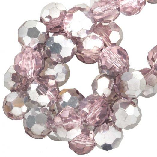 Facetperlen Rund (8 mm) Pink Silver Shine (72 Stück)