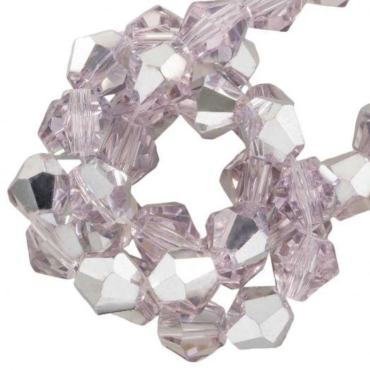 Facetperlen Bicone (6 mm) Pink Silver Shine (50 Stück)