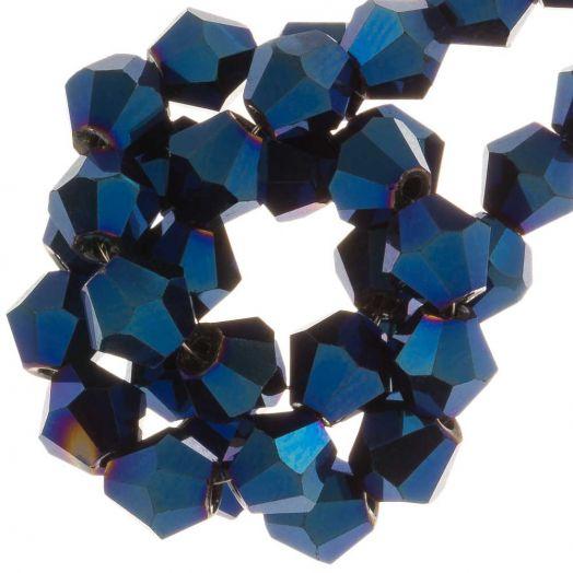 Facetperlen Bicone (6 mm) Blue Shine (50 Stück)