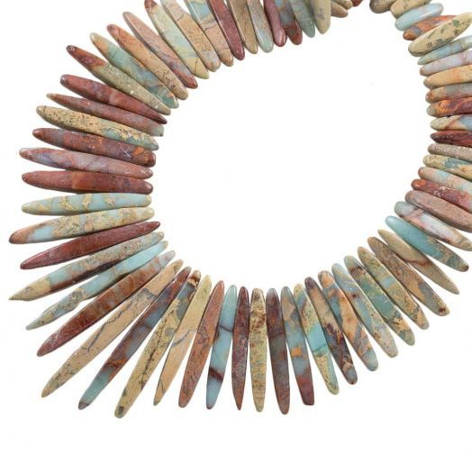 Aqua Terra Jasper Tusk Perlen (16 - 52 x 5 - 6 x 5 - 5.5 mm) 85 Stück