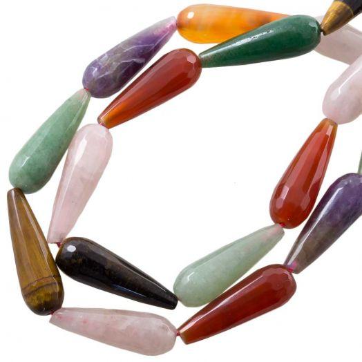 Natursteinperlen Tropfen (13.5 - 14 x 4 - 4.5 x 4 - 4.5 mm) Mix Color (13 Stück)