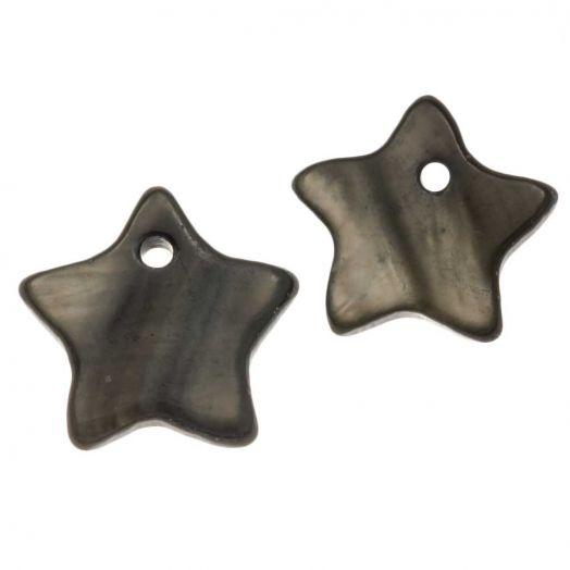 Muschel Charm (12 mm) Dark Grey (15 Stück)