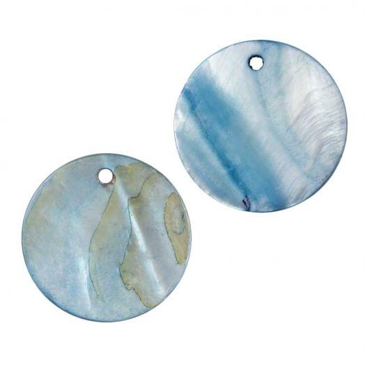 Charm Muschel (25 mm) Sky Blue (25 Stück)