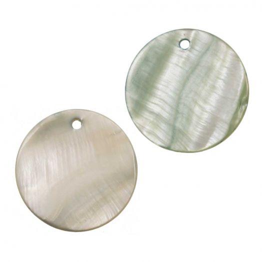 Charm Muschel (25 mm) Cream Green (25 Stück)