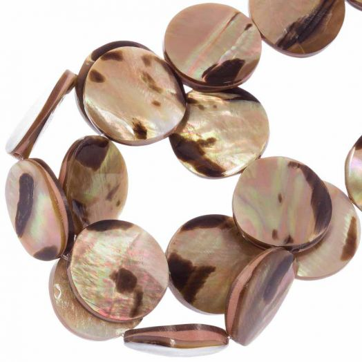 Muschelperlen (20 mm) Brown Lip Tiger (20 Stück)
