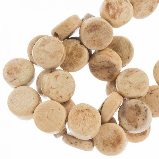 Kokos Perlen (8 x 4 mm) Natural (50 Stück)