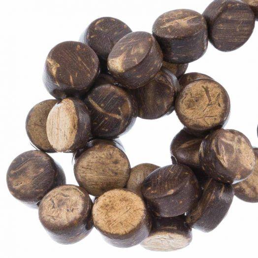 Kokos Perlen (8 x 4 mm) Natural Brown (50 Stück)
