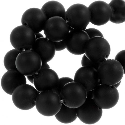 Black Stone Frosted Perlen (12 mm) 32 Stück